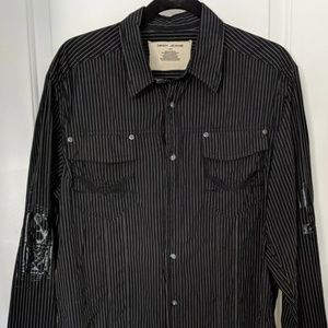 DKNY Button Front Shirt Embossed Embellishment